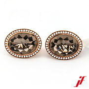 Earrings Clip Connector 750/18k Rose Gold Smokey Quartz Brilliant New Product