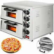 Electric 3000w Pizza Oven Double Deck Bakery Fire Stone Restaurant Commercial