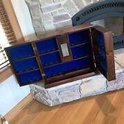 Gates Usa Walnut Wood President Display Case Cabinet Holds 36 Figurines/statues