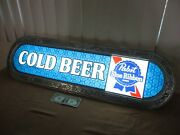 Vintage Pabst Blue Ribbon Cold Beer Embossed Light-up Store Advertise Sign 40