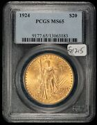 1924 G20 Saint-gaudens Gold Double Eagle - Strong Luster - Pcgs Ms 65 - G1215