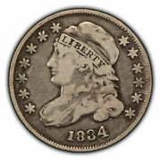 1834 10c Capped Bust Silver Dime - Fine - Value Coin - Sku-t2830