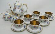 Tea Set Tea/coffee Pot, Creamer And Sugar, 6 Cups And Saucers Floral And Gold Cepelia