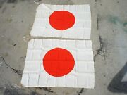Post Wwii Japanese Silk Meat Ball Banner 34x25 W/ Leather Corners