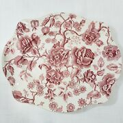 12 Johnson Brothers English Chippendale Red Pink Oval Serving Platter
