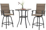 3 Piece Outdoor Patio Table Chair Set Swivel Counter Height Bar Chairs Table