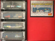 Mtl N Scale Golden West Service Vcy Weathered Graffitied 4 Car Runner Set Pack