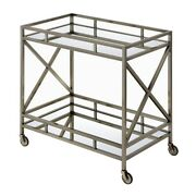Open Metal Frame 2 Tier Mirrored Serving Cart Antique Gold And Silver