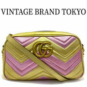 Quilted Small Shoulder Bag Shawl Diagonal Hanging Gg Marmont Pink Gold