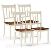 Costway Set Of 4 Wood Dining Chair High Back Dining Room Side Chair Ivory White