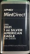 2021 Apmex Type 1 American Silver Eagle Roll 20 Coins