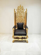 Lion King Throne Baroque Chair In Black Leather And Hand Carved Solid Wood Gold