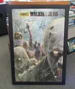 The Walking Dead Zombie Signed Poster Jsa Certified 24x36 Framed 6 Signatures