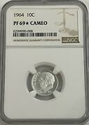 1964 Ngc Pf69 Star Cameo 90 Silver Roosevelt Dime Great Eye Appeal Uncirculated