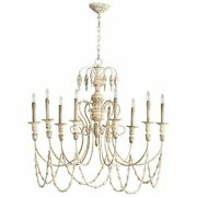 Elegant French Style 9 Light Iron And Wood Chandelier