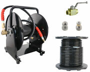 Scheiffer Sewer Jetter Kit - Ball Valve Hose Reel 3/8 X 200and039 Hose And Nozzles