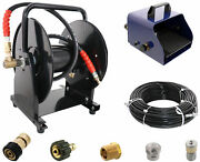 Scheiffer Sewer Jetter Kit - Foot Pedal Hose Reel 1/8 X 200and039 Hose And Nozzles
