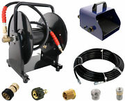 Scheiffer Sewer Jetter Kit - Foot Pedal Hose Reel 1/8 X 100' Hose And Nozzles