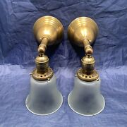 Rewired Pair Brass Sconces Antique Vintage Frosted Shades 125d