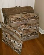 The French Company Floral Tapestry Fve-piece Luggage Set Suede Trim With Hangers