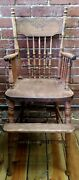 Antique Solid Turned Wood Childs High Chair W/footrest Ornate Carved Victorian