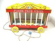 Vintage 1960s Wooden Fisher Price Circus Wagon Performers Animals Loaded