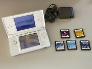 White Nintendo Lite Ds With 5 Games - Works