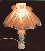 """Vintage Ceramic Lamp With Shade Pink With Gold Hand Painted Accents 18"""" Tall Euc"""