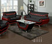 Beautiful Living Room 2pc Sofa Loveseat Red Black Bonded Leather Plush Couch