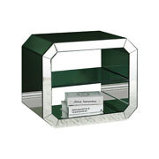 Accent Table With Mirrored Inserts And 1 Glass Shelf, Silver, Saltoro Sherpi