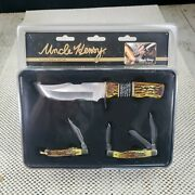 Schrade Uncle Henry Knife 3 Knives Gift Tin Set Bowie Stockman Pen 11300 Staglon