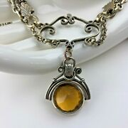 Antique Pocket Watch Chain Fob Yellow Glass Spinner Vintage