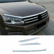 Silver Titanium Front Grille Grill Engine Hood Strip For Vw Touareg 2011-2018