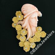 Vintage Carved Woman Angel Skin Coral .24ct Diamond 18k Gold Textured Pin Brooch