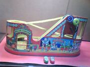 1940s J. Chein Tin Litho Roller Coaster Wind-up Toy + 2 Cars