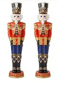 Pair Of Life-size 6and039 Tall Pre-lit Led Christmas Holiday Nutcracker Toy Soldiers