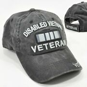 Disabled Vietnam Veteran Gray Cap Low Profile Cotton Military Embroidered Hat