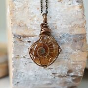 Ammonite Pendant Antique Bronze Necklace Handmade Fossil Designs By Nature Nwt
