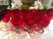 14 Rare Antique 1954 Venetian Murano Red Glass Twisted Foot Wine Glasses Goblet