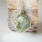 Raw Light Green Jade Necklace Wire Wrapped Crystal Handmade Designs By Nature