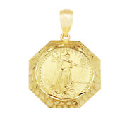 Walking Liberty Coin And Bezel Pendant 10k Yellow Gold 1.1 Inch Width