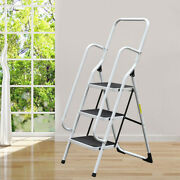 3 Layer Iron Ladder Folding Non Slip Safety Tread Industrial Home Use 150kg Load