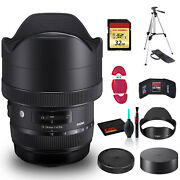 Sigma 12-24mm F/4 Dg Hsm Art Lens For Nikon F +cleaning Kit Tripod And 32gb Me