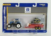 New Holland Tg215 Tractor With Manure Spreader And Skid Steer Loader By Ertl 1/64