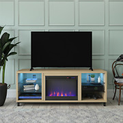 Fireplace Tv Stand Entertainment Center 70-inch Tvs Media Console Glass Shelves