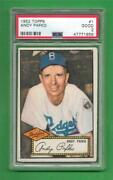 1952 Topps 1 Andy Pafko Psa Good 2 Brooklyn Dodgers Old Baseball Card