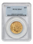 1932 10 Pcgs Ms63 - Indian Eagle - Gold Coin