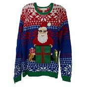 Jolly Sweaters Ugly Christmas Sweater Santa Claus Present Unisex Size Large L