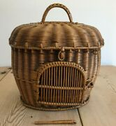 Uber Rare And Charming Antique French 19th Century Wicker Basket Carrier