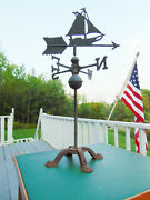 Vintage Nautical Sail Boat Weather Vane With Fancy Cast Iron Display Stand